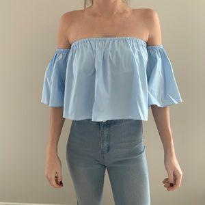 NWOT Zara Off The Shoulder Top Blue